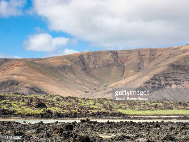 volcanic landscape from the shore of the beach of white sand in the  lanzarote, canary islands, spain. - área silvestre fotografías e imágenes de stock