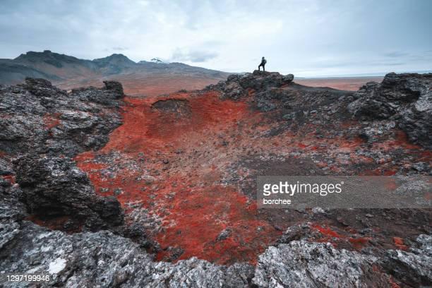 paesaggio vulcanico, islanda - infrarosso foto e immagini stock