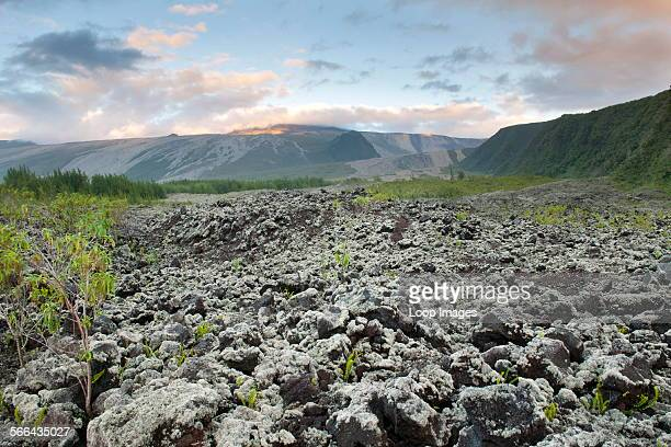 Volcanic landscape of Le Grand Brule on the French island of Reunion in the Indian Ocean