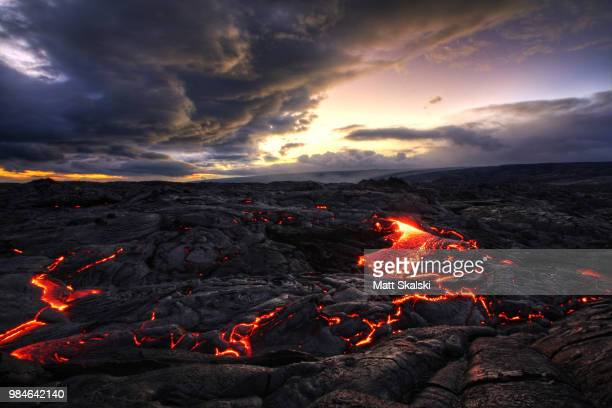 a volcanic landscape. - lava stock pictures, royalty-free photos & images