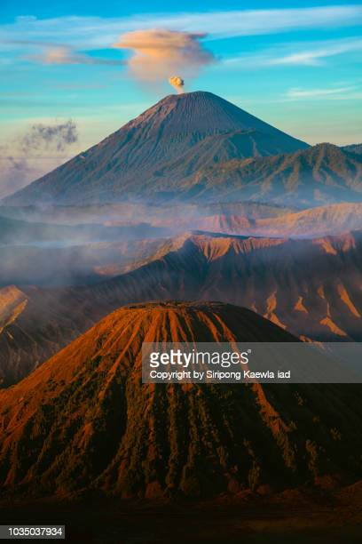 volcanic landscape view at the bromo-tengger-semeru national park. - mt semeru stock pictures, royalty-free photos & images
