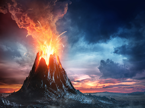 Volcanic Mountain In Eruption 670551650