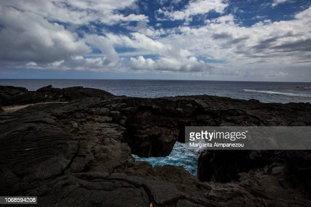 Volcanic rock and the sea inside at Reunion Island