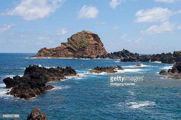 Volcanic rock formations at the coast of the Portuguese island of Madeira near Port Moniz