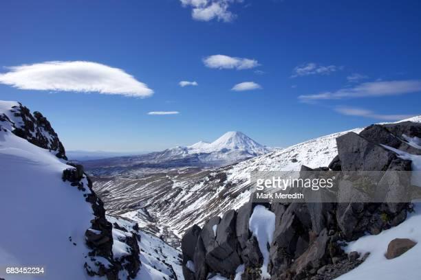 Volcanic scenery with  Mt Ngauruhoe in Tongariro National Park
