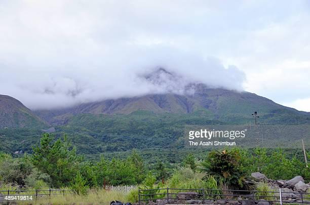 Volcanic smoke rise from Mount Sakurajima on September 1 2015 in Kagoshima Japan Japan Meteorological Agency downgranded the volcanic warning to...