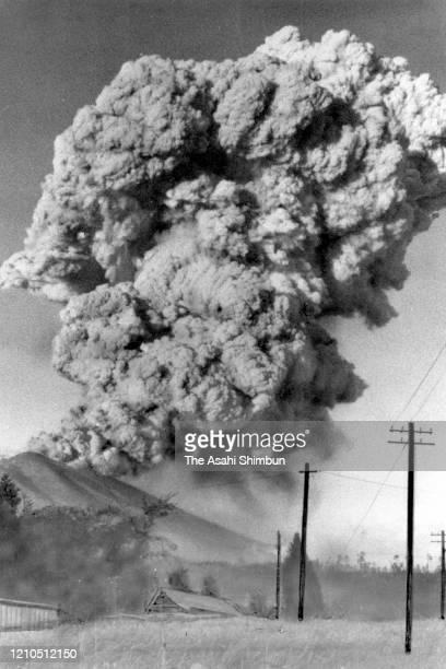 Volcanic smoke rises as Mt. Asamayama erupt on October 7, 1961 in Komoro, Nagano, Japan.