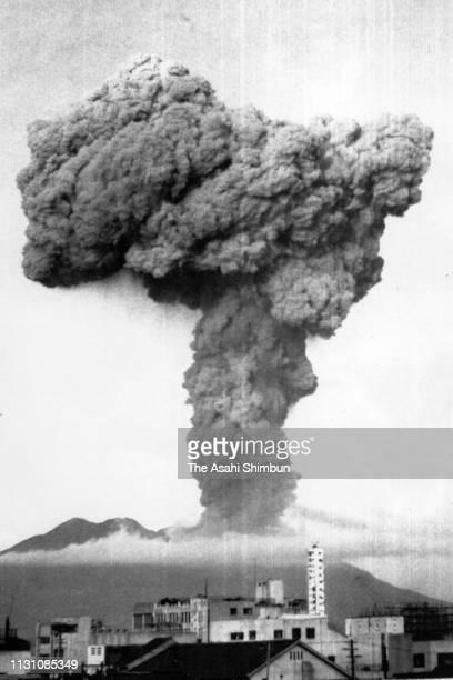 Volcanic smoke rises from Mt. Sakurajima on July 16, 1960 in Kagoshima, Japan.