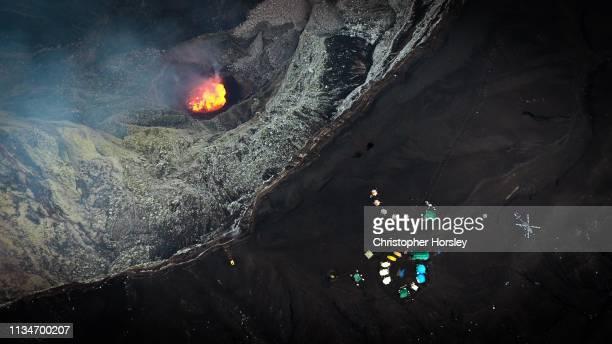 volcano climbing - marum, ambrym vanuatu - ash stock photos and pictures
