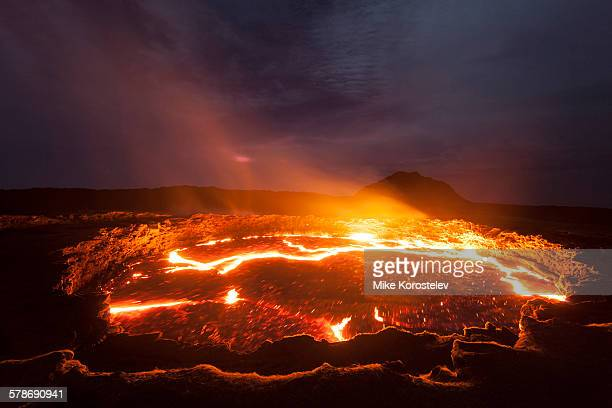 volcano crater, erta ale - volcanic crater stock pictures, royalty-free photos & images