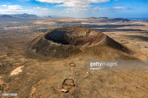 volcano crater of calderon hondo aerial view - volcanic crater stock pictures, royalty-free photos & images