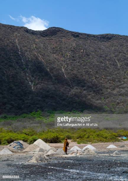 Volcano crater where Borana tribe men dive to collect salt, Oromia, El Sod, Ethiopia on March 4, 2017 in El Sod, Ethiopia.