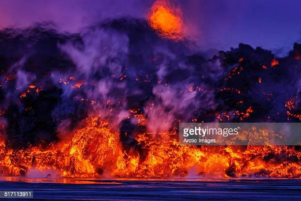 volcano eruption, holuhraun, bardarbunga, iceland - 噴出 ストックフォトと画像