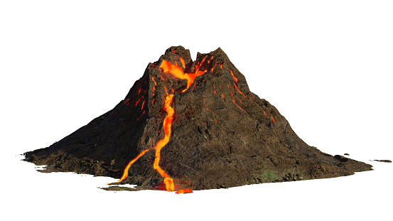 volcano eruption, lava coming down a mountain, isolated on white background (3d science illustration) 1171284765