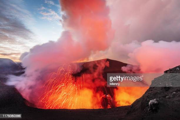 volcano eruption mount yasur tanna island vanuatu lava crater - active volcano stock pictures, royalty-free photos & images