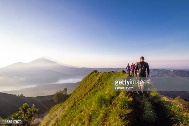 volcano hike - lake batur stock photos and pictures