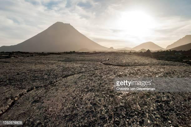 volcano landscape with morning mist - cabo verde fotografías e imágenes de stock