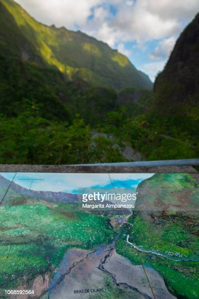 Volcano mountains at Reunion Island and their respective maps