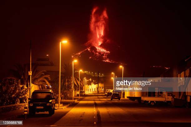 Volcano of Cumbre Vieja in the Canary Island of La Palma continues to erupt lava after 15 days. Part of the main cone has collapsed joining two of...