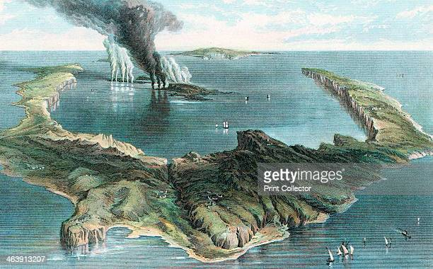 Volcano on the island of Thera in eruption 1866 The horseshoe shape of the island was created during a cataclysmic eruption c1500 BC The ancient...