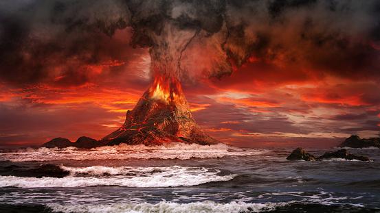 Volcano on the sea 502640906