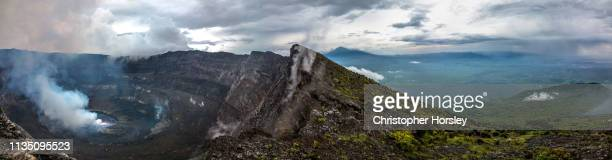 volcano panoramas - nyiragongo, drc - active volcano stock pictures, royalty-free photos & images