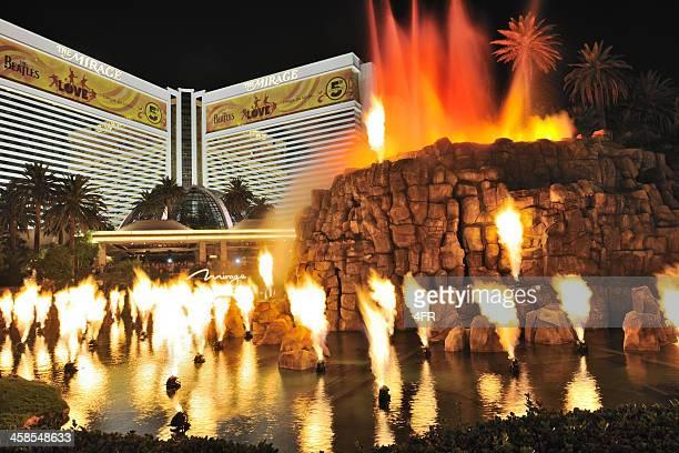 volcano show, mirage, las vegas (xxxl) - mirage hotel stock pictures, royalty-free photos & images
