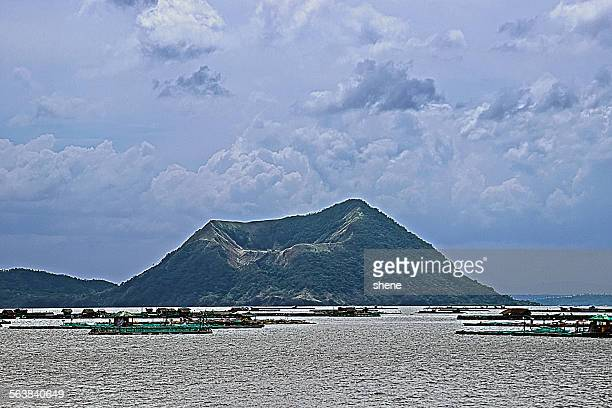volcano taal over the lake - taal volcano stock photos and pictures