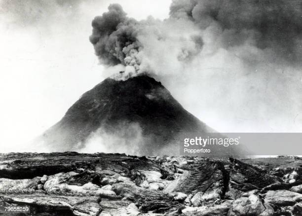 Volcanos Mount Vesuvius overlooking the Bay of Naples Italy pictured during an eruption
