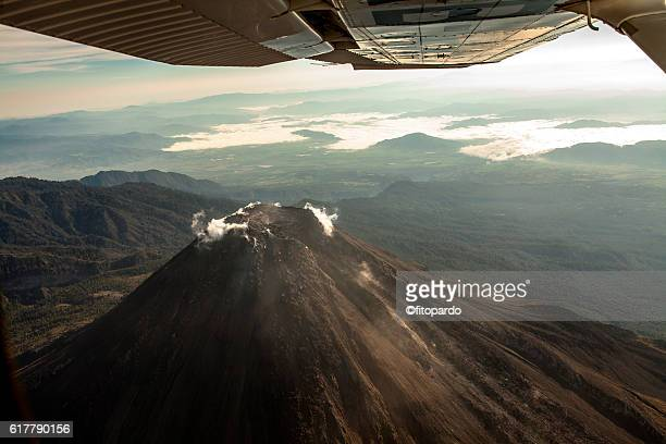 Volcán de Colima Eruptions from a plane