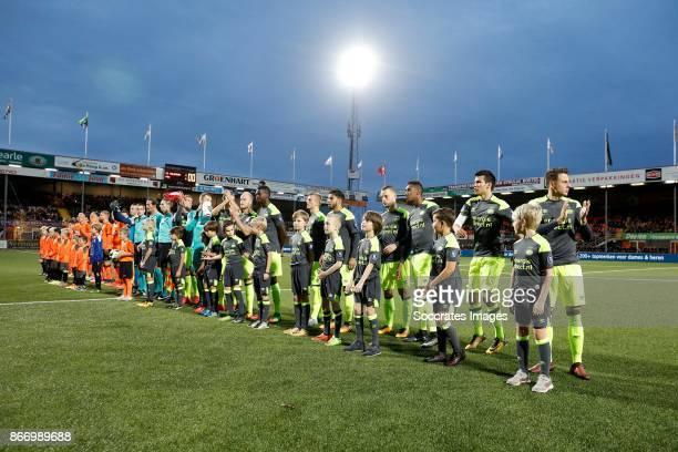 Volendam PSV line up during the Dutch KNVB Beker match between FC Volendam v PSV at the Kras Stadium on October 26 2017 in Volendam Netherlands