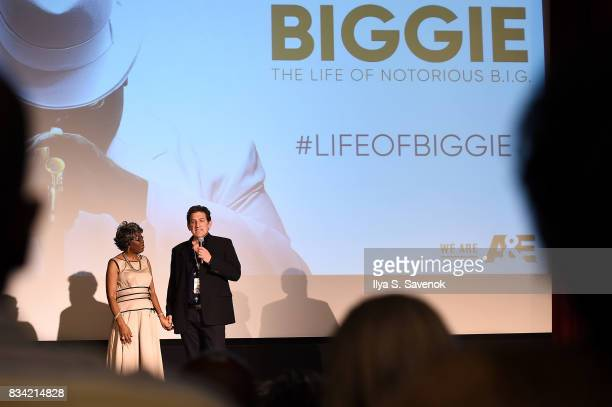 Voletta Wallace and producer Brad Abramson speak onstage at the screening of AE 'Biography Presents Biggie The Life Of Notorious BIG' at DGA Theater...