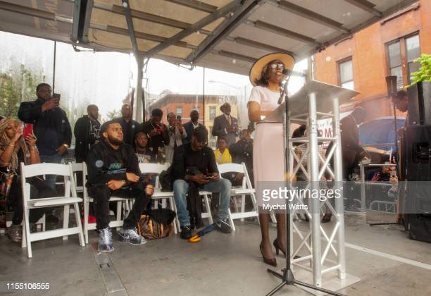 Voletta Wallace attends the Notorious B.I.G. Street Naming in Brooklyn New York on June 10, 2019 in Brooklyn, New York. On June 10, 2019 in Brooklyn,...