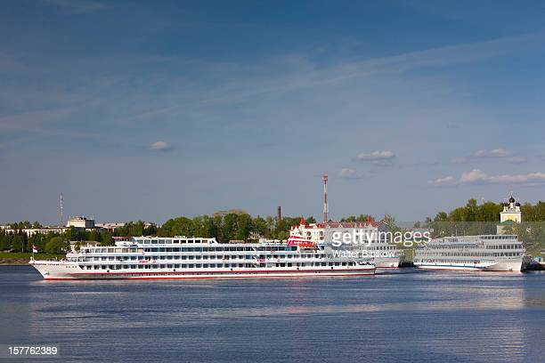 volga river, cruiseboats - volga stock pictures, royalty-free photos & images