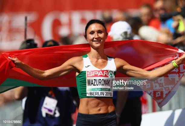 Volha Mazuronak of Belarus celebrates as she wins gold in the Women's Marathon final during day six of the 24th European Athletics Championships at...