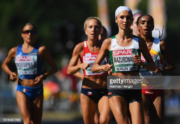 Volha Mazuronak of Belarus competes in the Women's Marathon final during day six of the 24th European Athletics Championships at Olympiastadion on...