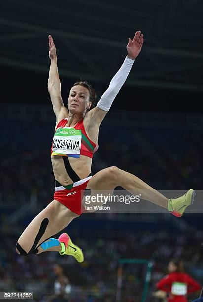 Volha Sudarava of Belarus competes during the Women's Long Jump qualifying round on Day 11 of the Rio 2016 Olympic Games at the Olympic Stadium on...