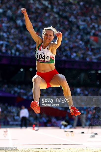 Volha Zinkevich of Belarus competes in the Women's Long Jump F11/12 Final on day 9 of the London 2012 Paralympic Games at Olympic Stadium on...