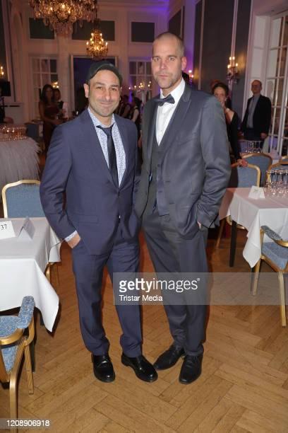 Volkan Baydar and Vince Bahrdt of the band Orange Blue during the 23 Blauer Ball at Hotel Atlantic Kempinski on February 22 2020 in Hamburg Germany