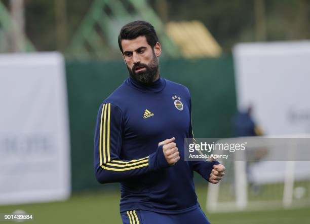 Volkan Demirel of Fenerbahce attends a training session ahead of the 2nd half of Turkish Super Lig at Belek Tourism Center in Serik district of...