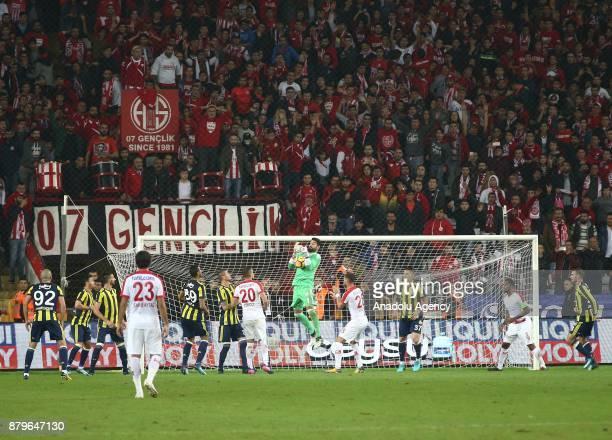 Volkan Demirel of Fenerbahce in action during the Turkish Super Lig match between Antalyaspor and Fenerbahce at Antalya Stadium in Antalya Turkey on...
