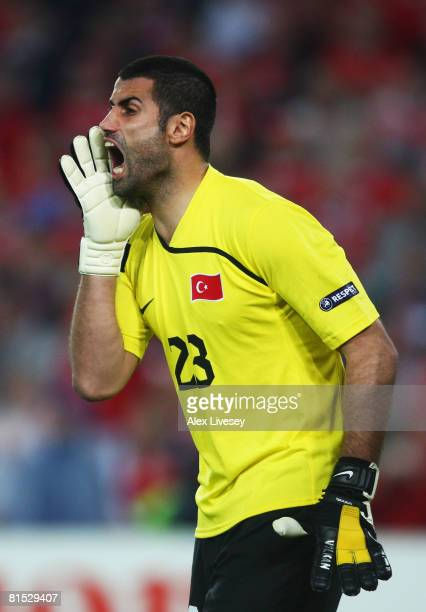 Volkan Demirel of Turkey shouts instructions during the UEFA EURO 2008 Group A match between Switzerland and Turkey at St JakobPark on June 11 2008...