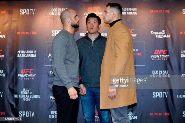 Volkan Oezdemir of Switzerland and Aleksandar Rakic of Austria faceoff during the UFC Fight Night Ultimate Media Day at Lotte Hotel Busan on December...