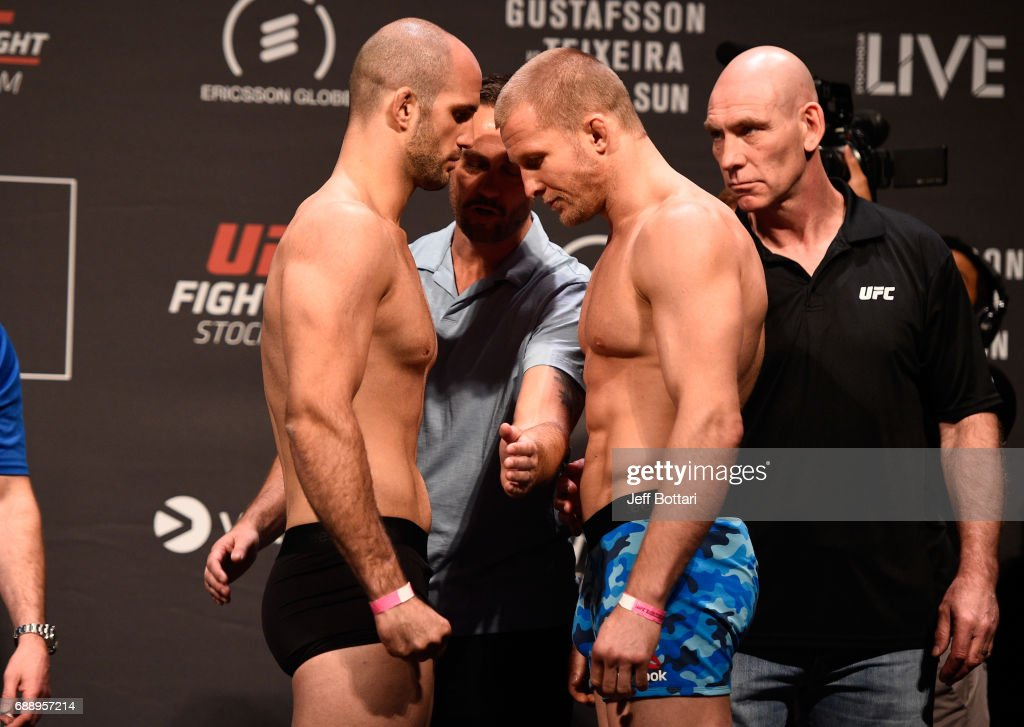 Volkan Oezdemir of Switzerland and Misha Cirkunov of Latvia face off during the UFC Fight Night weigh-in inside Ericsson Globe on May 27, 2017 in Stockholm, Sweden.