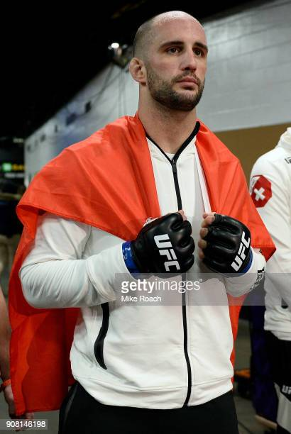 Volkan Oezdemir of Switzerland prepares to fight Daniel Cormier during the UFC 220 event at TD Garden on January 20 2018 in Boston Massachusetts