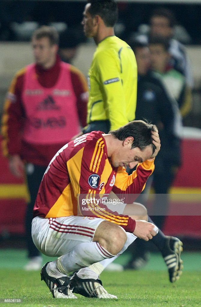 Volkan Yaman Of Istanbul Looks Dejected During The Uefa Cup