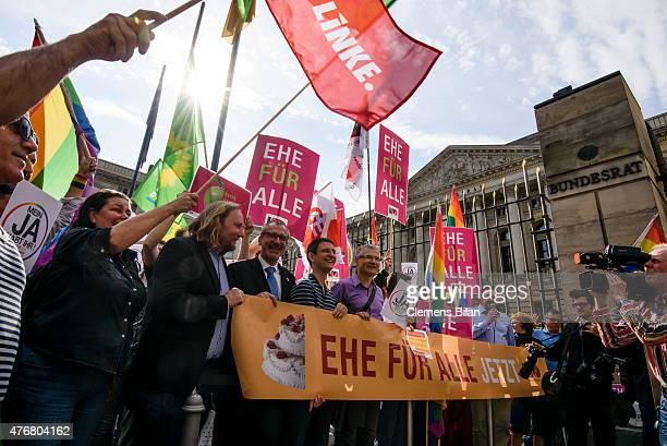Volker Beck Member of German Greens Party and Anton Hofreiter coleader of the Bundestag fraction of the German Greens Party and activists with the...