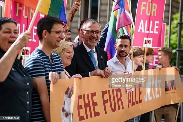 Volker Beck Member of German Greens Party demonstrates with activists with the Lesbian and Gay Association of Berlin demonstrate outside the...