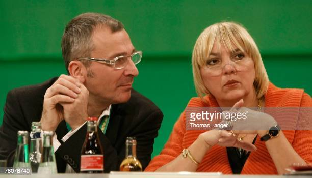 Volker Beck parliamentary party manager of Germany's Green party speaks to party leader Claudia Roth during the second day of their party's congress...