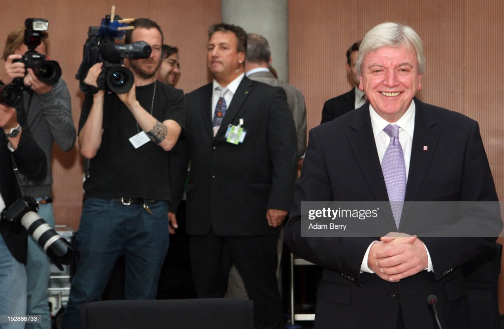 Volker Bouffier, prime minister of the German state of Hessen, arrives for a hearing about his involvement in preventing access to information during the National Socialist Underground (NSU) murder investigations case at the Paul-Loebe-Haus on September 28, 2012 in Berlin, Germany. The case revolves around revelations that various German law enforcement agencies withheld information from each other and from a Bundestag investigative committee about details and informants related to the NSU neo-Nazi murder series, in which a trio killed nine immigrants and one police woman across Germany between 2000 and 2007 in a case that has become the biggest embarassment to German law enforcement in recent history.
